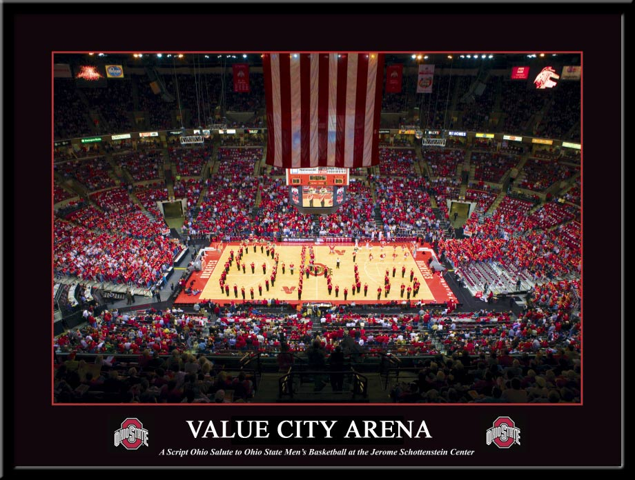 Ohio State Value City Arena Script Ohio Basketball Poster