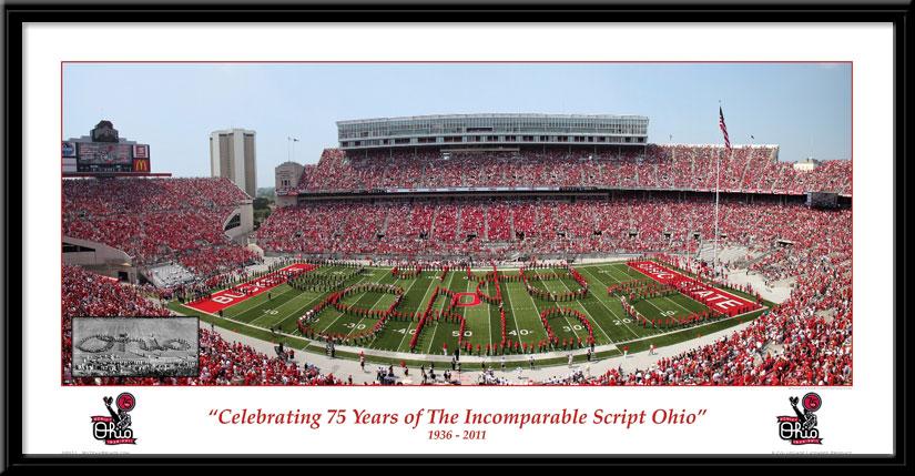 Ohio State 75th Anniversary of Script Ohio Commemorative Print